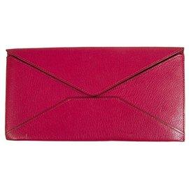 Hermès-Hermes Fuchsia Long Leather Envelope Wallet Letter Ticket Travel Passport Holder-Fuschia