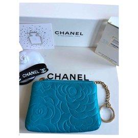 Chanel-Camellia coin purse-Blue
