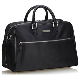 Burberry-Burberry Black Leather Travel Bag-Black
