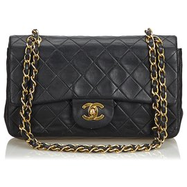 Chanel-Chanel Black Classic Small Lambskin Leather Single Flap Bag-Black