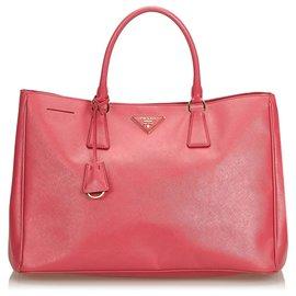 Prada-Sac à main Prada en cuir Saffiano Galleria rose-Rose