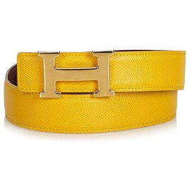 Hermès-Hermes Brown Constance Belt-Brown,Golden