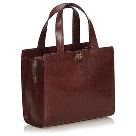 Céline-Celine Brown Vintage Leather Satchel-Brown