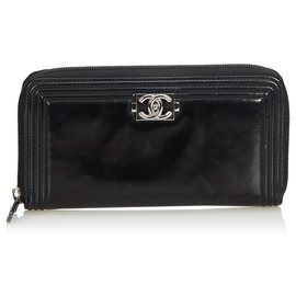 Chanel-Chanel Black Patent Leather Boy Long Wallet-Black