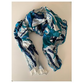 Hermès-Hermès silk and cotton scarf-White,Navy blue,Light blue,Turquoise
