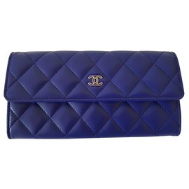 Chanel-Timeless Chanel wallet in new leather-Blue