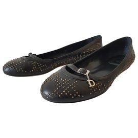 Dior-Dior leather ballerinas-Black