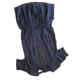 Autre Marque-DRESS GIRL CHLOE NAVY BLUE WITH RIVET , pleated .Low waist ,6/8/12/14 years old.-Navy blue