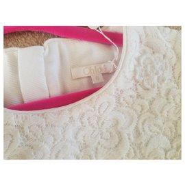 Chloé-Robe de soirée Chloé, entièrement doublé de coton , Lavable en machine ,6années /12 années /14 années.-Beige