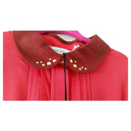 Marc Jacobs-Little Marc Jacob Blouse bright red plisse , collar with golden patterns on the collar ,-Red