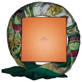 Hermès-CARRE HERMES 100% Silk– Green Square Hermès scarf « La Ronde des Heures » with Hermès Scarf-Red,Beige,Golden,Green,Purple,Olive green,Light green,Dark green