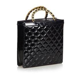 Chanel-Chanel Black Matelasse Patent Leather Tote Bag-Black