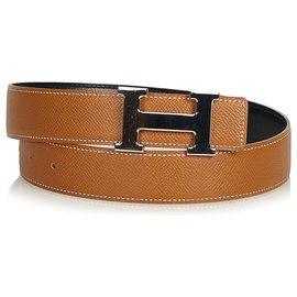 Hermès-Hermes Brown Constance Belt-Brown,Silvery