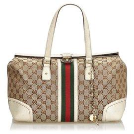 Gucci-Sac à main Gucci Brown Large GG Jacquard Web Treasure-Marron,Multicolore,Beige