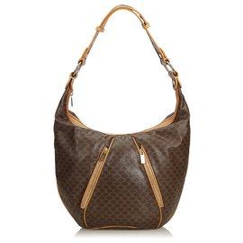 Céline-Celine Brown Macadam Hobo Bag-Brown,Light brown,Dark brown