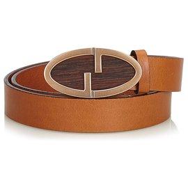 Gucci-Ceinture G bordée de cuir brun Gucci-Marron