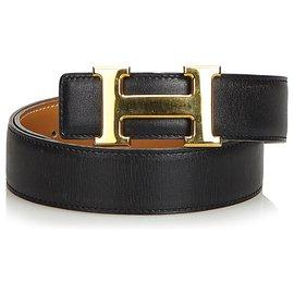 Hermès-Hermes Black Leather Constance Belt-Black,Golden