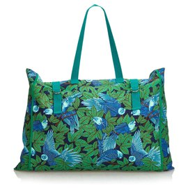 Hermès-Sac cabas en toile imprimée vert Hermès-Bleu,Vert,Vert clair,Turquoise