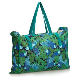 Hermès-Hermes Green Printed Canvas Tote-Blue,Green,Light green,Turquoise