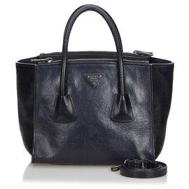 Prada-cabas double poche en cuir noir Prada-Noir