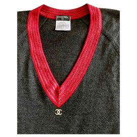 Chanel-Pull en cachemire logo vintage-Gris