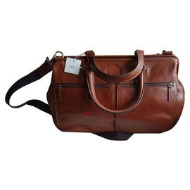 "Autre Marque-Fossil leather travel bag ""Defender""-Brown,Cognac,Caramel"