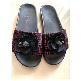 Chanel-Chanel Camelia Tweed sandals EU39-Other