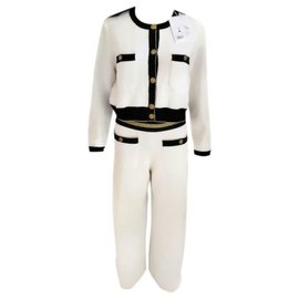 "Chanel-CHANEL"" Cruise 2 Piece Jacket & Pants Set-White"