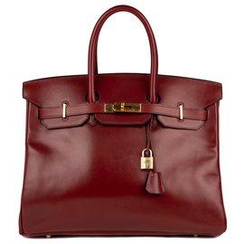 Hermès-Superbe Hermès Birkin 35 en cuir Box Bordeaux, accastillage doré en très bon état!-Bordeaux
