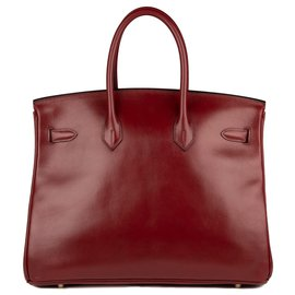 Hermès-Beautiful Hermes Birkin 35 Box leather Bordeaux, golden hardware in very good condition!-Dark red