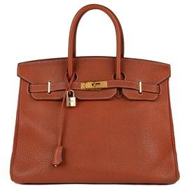 Hermès-Superbe Hermès Birkin 35 en cuir Togo cognac, bijouterie plaquée or en très bon état !-Cognac