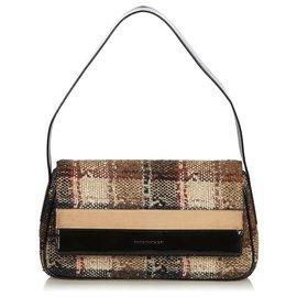 57b9c08a43d9 Burberry-Burberry Black Plaid Wool Shoulder Bag-Black