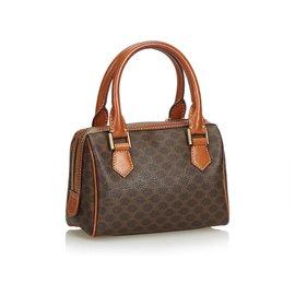 Céline-Celine Brown Macadam Mini Boston Bag-Brown