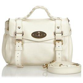 Mulberry-Mulberry White Leather Alexa Satchel-White,Cream