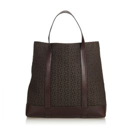 Céline-Celine Brown Jacquard Tote Bag-Brown,Dark brown