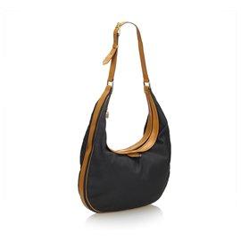Yves Saint Laurent-YSL Hobo-Tasche aus schwarzem Leder-Braun,Schwarz
