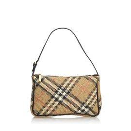 34f48096612 Burberry-Baguette en laine vierge à carreaux brun Burberry-Marron