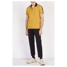 Gucci-Polo GUCCI en piqué de coton mélangé à manches logo TAILLE L neuf-Moutarde
