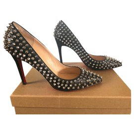 Christian Louboutin-Pigalle Spikes-Black,Silvery
