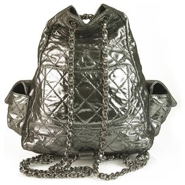 """Chanel-Chanel Dark Silver Quilted Lambskin Large """"Backpack is Back"""" Backpack bag mint!-Silvery"""