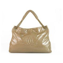 Chanel-Chanel Large CC Beige Nude Patent Vinyl Rock & Chain Large XL Cabas Bag Handbag-Beige