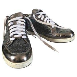 Jimmy Choo-Sneakers-Silvery,White