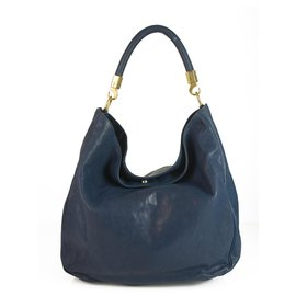 Yves Saint Laurent-Yves Saint Laurent Rive Gauche YSL Blue Petrol Leather Roady Large Tote Bag-Bleu