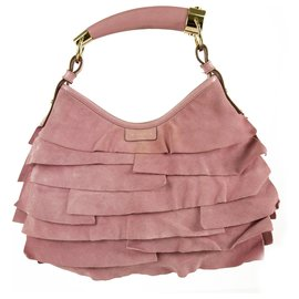 Yves Saint Laurent-Yves Saint Laurent YSL Pink Suede Leather Ruffle Mombasa Shoulder Bag Horn Handle-Pink