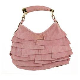 Yves Saint Laurent-Yves Saint Laurent YSL Rosa Mombasa-Schultertasche aus Wildleder mit Rüsche Horn-Griff-Pink