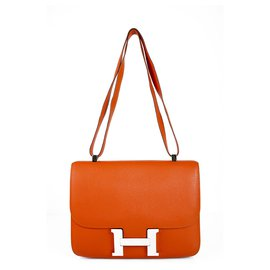 Hermès-HERMES Constance Cartable 29 Hardware de paládio de couro laranja Chevre Mysore-Laranja
