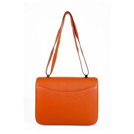 Hermès-HERMES Constance Cartable 29 Quincaillerie en cuir palladium orange Chevre Mysore-Orange