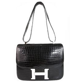 Hermès-HERMES Constance Cartable 29 Black Shinny Crocodile Porosus Palladium Hardware-Black