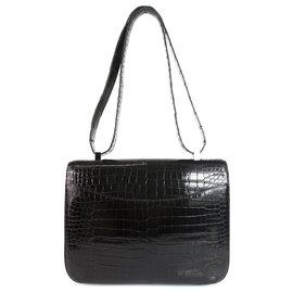 Hermès-HERMES Constance Cartable 29 Quincaillerie Porosus Palladium en Crocodile Noir Brillant-Noir