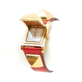 Hermès-MEDOR GOLDEN BRAISE-Rouge,Doré